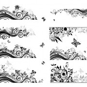 Floral border with butterflies design vector free