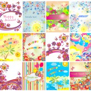 Happy summer floral vector background set free