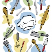 Hand drawn kitchen tools design vector free