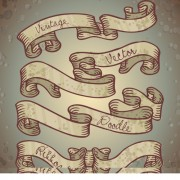 Hand drawn vintage ribbon benner vector 04 free