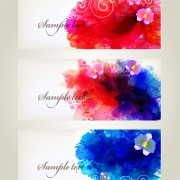Splash watercolor with flower banner vector 02 free