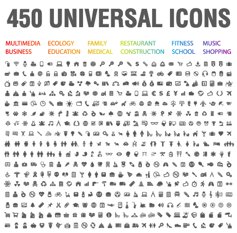 450 Kind Universal Icons Vector Set Free Free Download