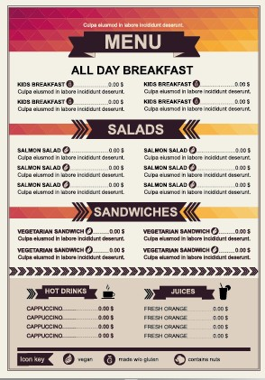 restaurant menu price list template vector 01 free free download
