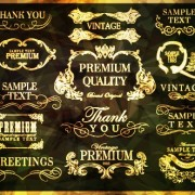 Golden frame with labels ornament vector 01 free