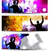 Music party creative banner vector graphics 01 free