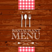 Restaurant menu with wood board background vector 02 free