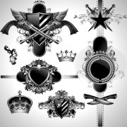 Vintage black and white badge with heraldry vector set 03 free