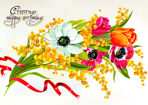 Happy Birthday Flowers Greeting Cards 03 Free