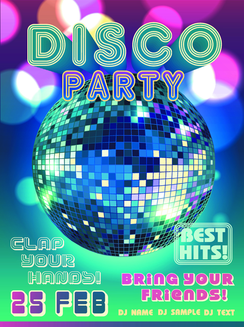 neon disco music party flyers design vector 02 free free