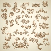 Vintage ornaments with corners vector free