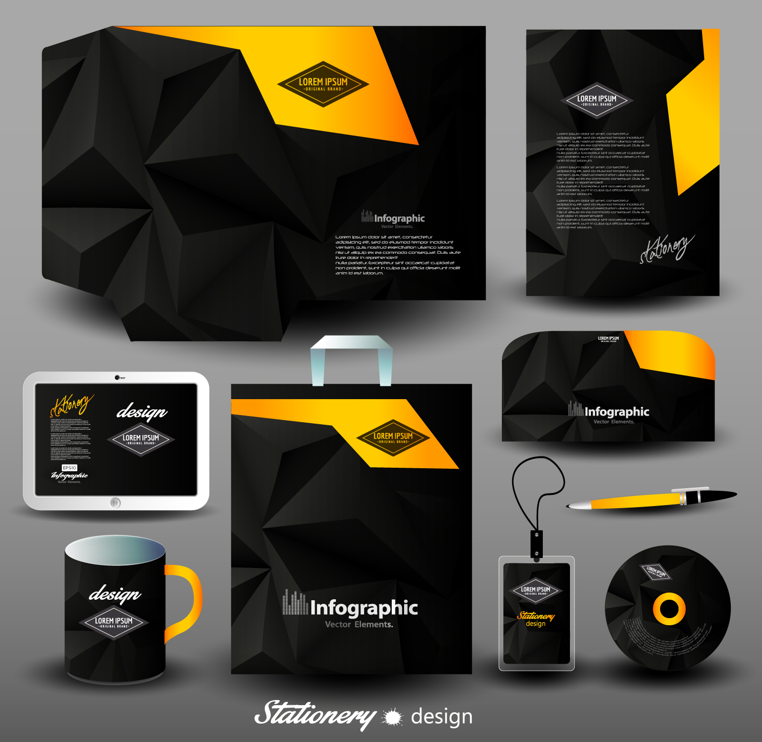 creative stationery cover kit vector set 05 free