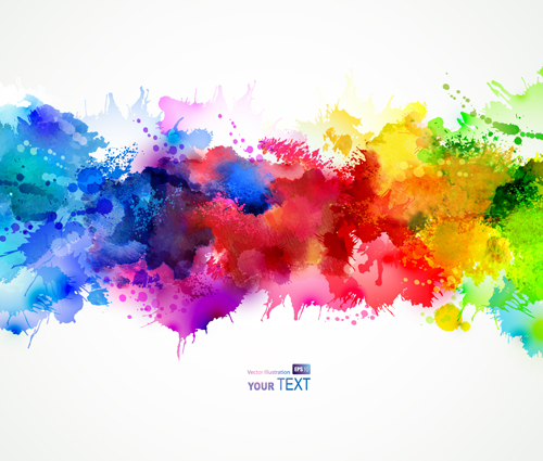 Big Canvas Art Modern Watercolor Abstract Ink Splash Big: Multicolor Watercolor Splash Background Illustration