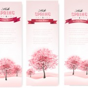 Pink style spring trees banners vector graphics 02 free