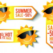 Summer sale discount stickers with sun vector free