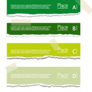 Torn paper colored banner vector set 05 free