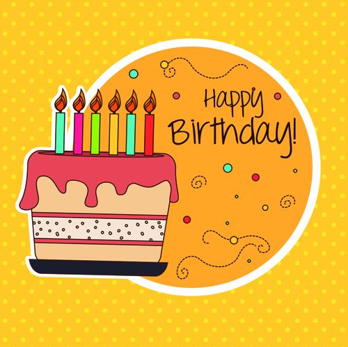 Cartoon Style Happy Birthday Greeting Card Template 01 Free