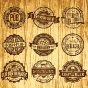 Brown retro beer labels vector free