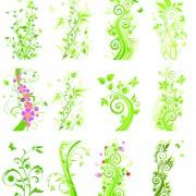 Floral green ornaments vector set 01 free