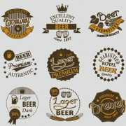 Retro beer labels vectors set 03 free