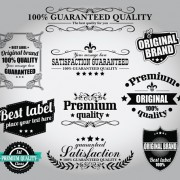 Retro Premium Quality Labels with Ribbon Vector 01 free