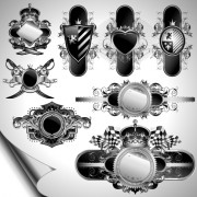 Vintage black and white badge with heraldry vector set 01 free