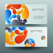 Colored abstract infographics banner vector 04 free