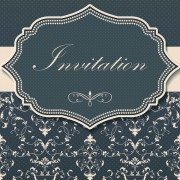 Dark gray floral invitation cards vector 05 free