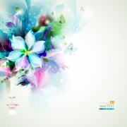Floral girls with watercolor vector background 01 free
