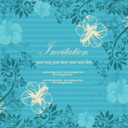 Floral retor Invitations background vector 02 free