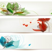 Refreshing banner with floral vector design 03 free