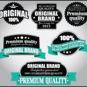 Retro Premium Quality Labels with Ribbon Vector 08 free