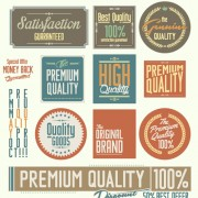 Vintage premium quality stickers and labels with banner vector 02 free