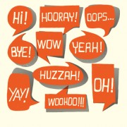 Text short words and speech bubbles design vector 01 free