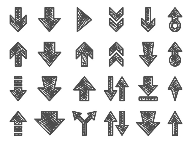 hand drawn arrow set vector free