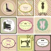 Common vintage labels vector set 07 free