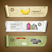 Curled paper banner infographics vector free