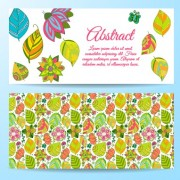 Cute abstract elements banners vectors 03 free