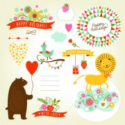 Cute animals with labels design vector 03 free
