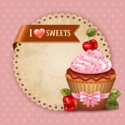 Cute cupcakes vector invitation cards 01 free