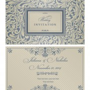Decorative pattern wedding invitation cards vector set 01 free