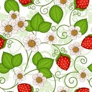 Strawberries seamless pattern vector free
