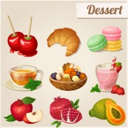 Vector dessert with fruit icons free