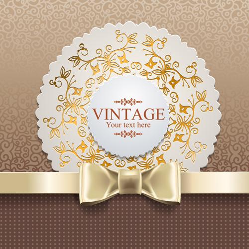 Exquisite lace vintage cards vector set 03 free