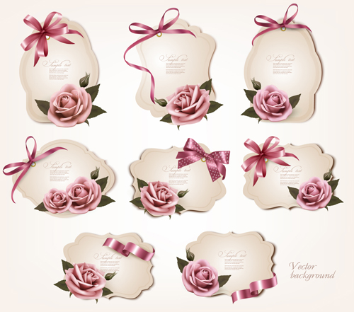 Exquisite ribbon bow gift cards vector set 11 free