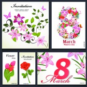 8 march flower Invitation cards vectors set 01 free