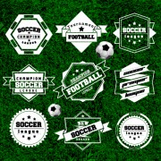 Creative football labels design vector graphics 04 free