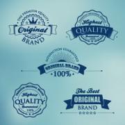 Dark blue premium quality labels vector free