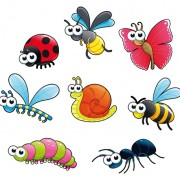 Different cartoon insect vector free