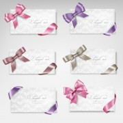 Exquisite ribbon bow gift cards vector set 28 free