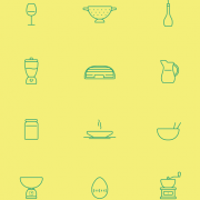 Green kitchen cutlery line icon vector free